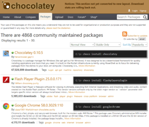 Page d'accueil Chocolatey Packages