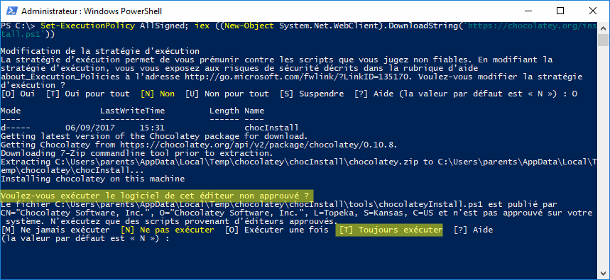 Installation de chocolatey - PowerShell Win10 - accord exécution script