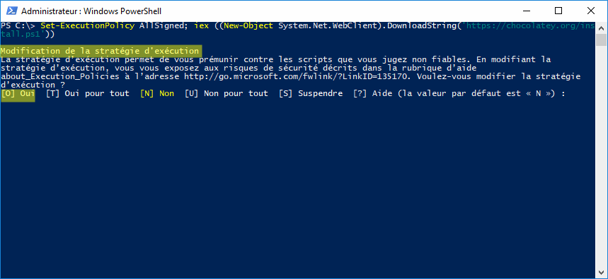 Installation de Chocolatey par PowerShell Win10 - demande modification de stratégie