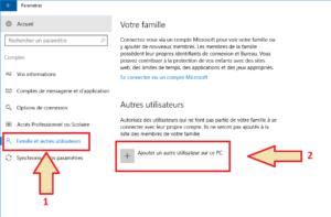 Windows 10 - Comptes - ajout Utilisateur