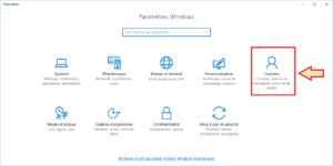 Windows 10 - Paramètre - sélection Comptes