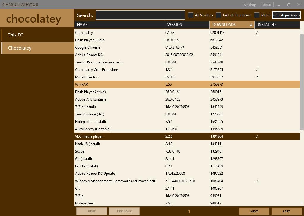 ChocolateyGui : L'interface graphique du gestionnaire de paquets pour Windows Chocolatey