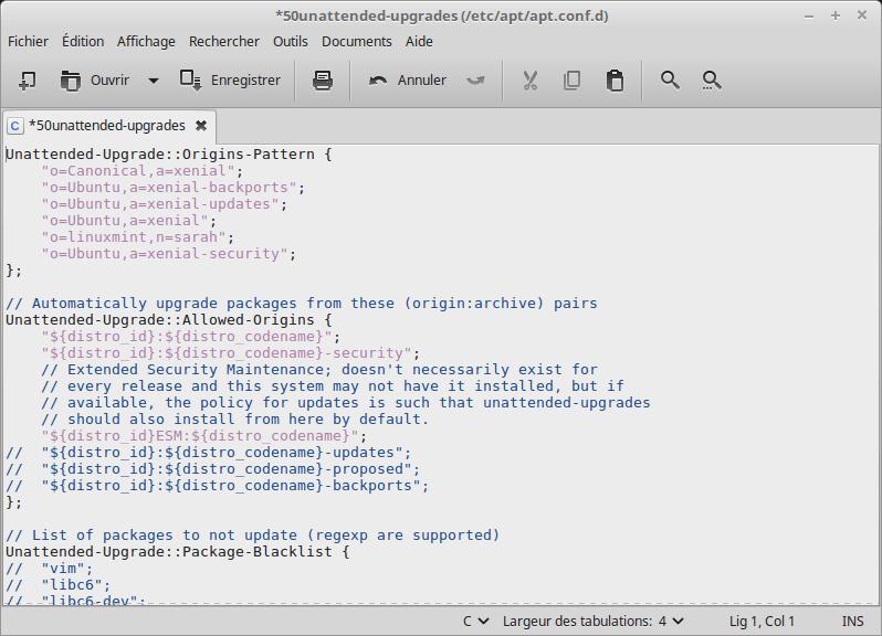 [Linux Mint 18] fichier 50unattended-upgrades modifié