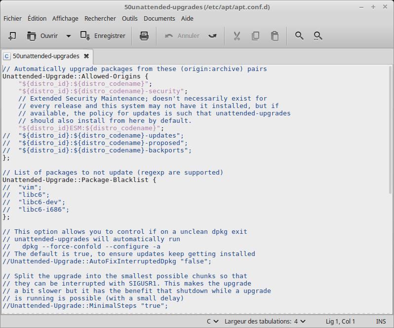 [Linux MINT 18] fichier 50unattended-upgrades original