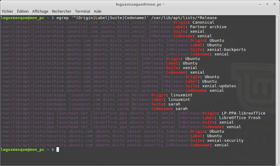 Linux MINT 18 Exemple résultat liste des dépots