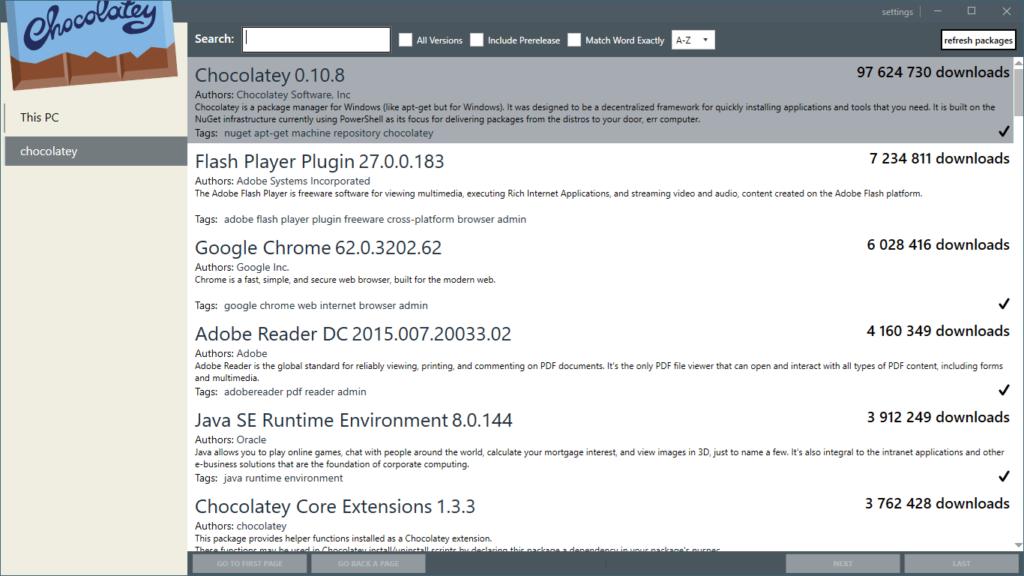 Chocolatey GUI 0.15 - liste applications