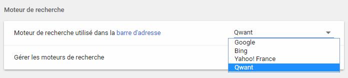 Chromium - Definir moteur de recherche par defaut depuis page parametre