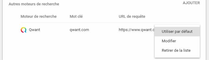 Chromium - Definir moteur de recherche par defaut de Google Chrome