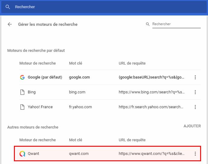 Chromium - Gérer les moteurs de recherche