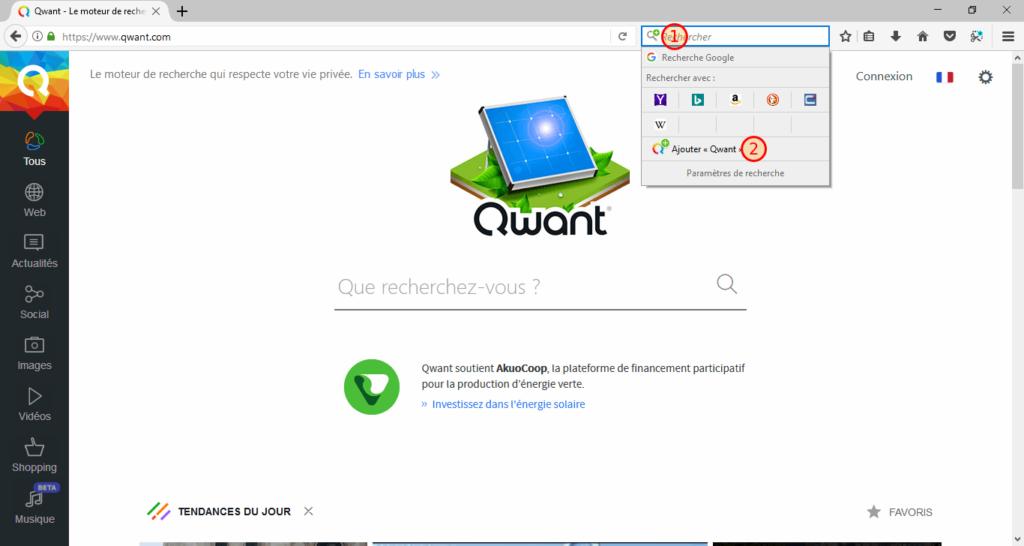 Firefox - Ajout d'un moteur de recherche
