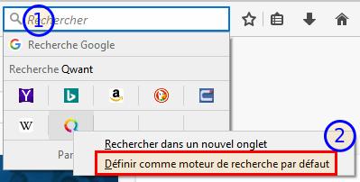 Firefox - Modifier moteur de recherche par défaut via barre de recherche