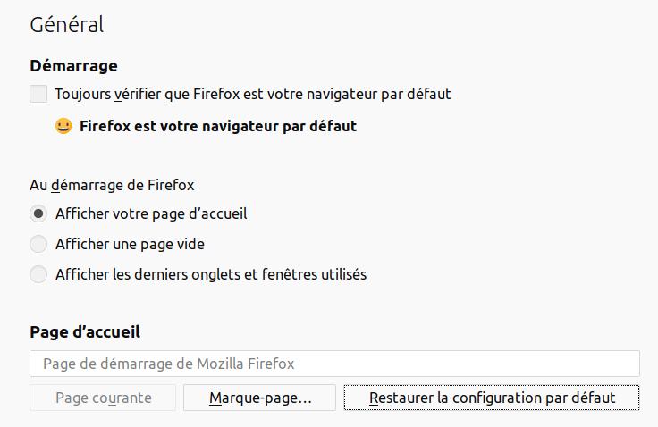 Firefox - Préférences page d'accueil