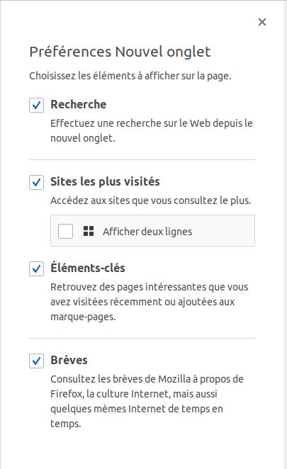 Firefox Quantum - Configuration Page d'accueil par défaut