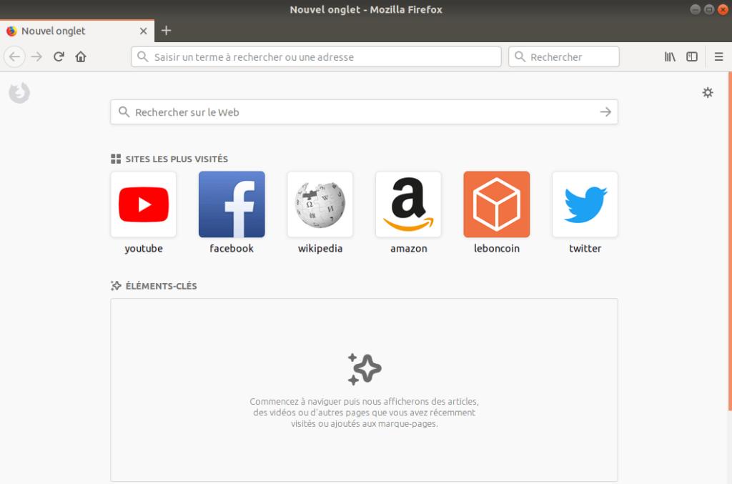 Firefox Quantum - Page d'accueil par defaut