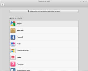 Linux Mint 18.3 - Comptes en ligne