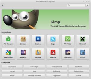 Linux Mint 18.3 - Gestionnaire de logiciels