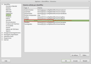 Options - LibreOffice - Chemins