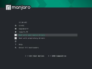 démarrage support-live Manjaro