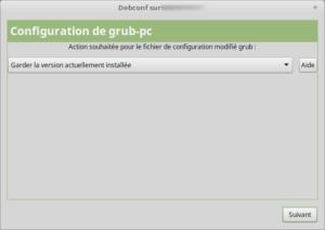 Configuration nouveau grub-pc