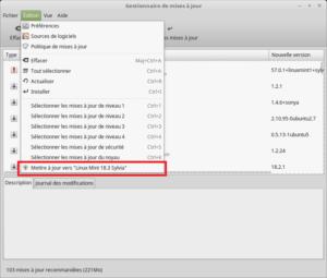 Mettre à jour vers Linux Mint 18.3 - Gestionnaire de mises à jour