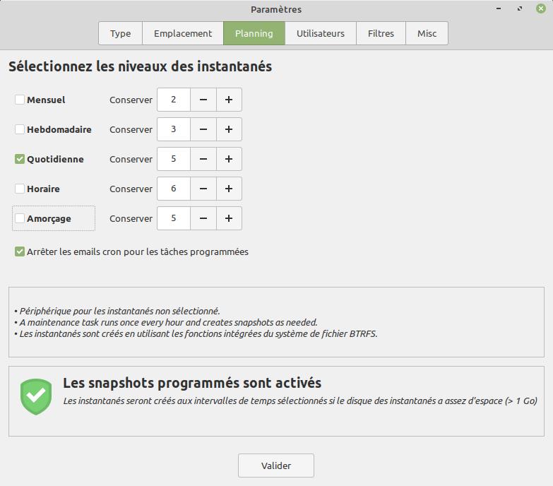 Paramètres Timeshift - Choix du planning pour la création des instantanés