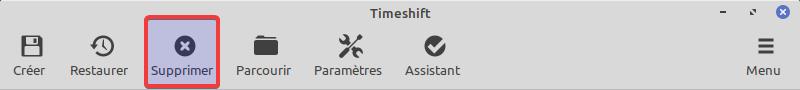 Supprimer instantané timeshift