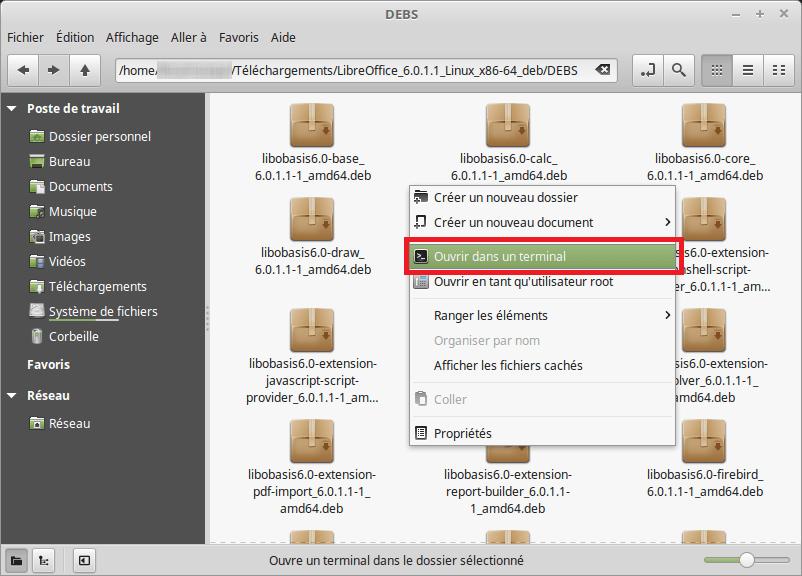 Ouvrir un terminal dans le dossier