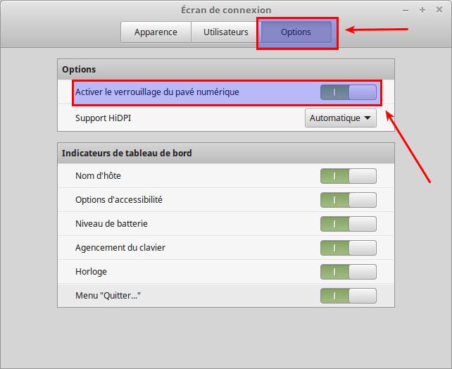 Paramètres écran de connexion - Options