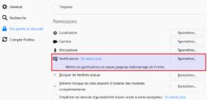 Firefox 59 - Options vie privée et sécurité