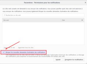 Firefox 59 - Permission pour les notifications