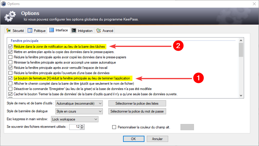 Utiliser KeePass avec Firefox : Options interface KeePass