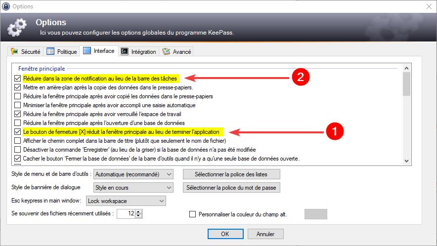 Utiliser KeePass avec Firefox : Options interface KeePass