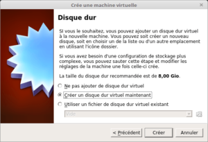 VirtualBox - Crée une machine virtuelle - disque dur