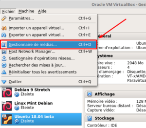 VirtualBox - Gestionnaire de machines