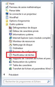 Windows 7 - Lancement via menu Planificateur de taches