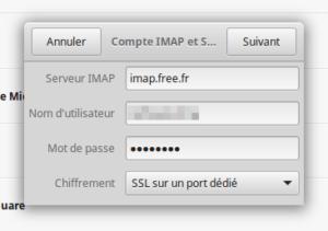 Compte en ligne - information IMAP