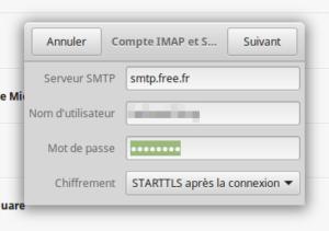 Compte en ligne - information SMTP