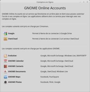 Comptes en ligne - Linux Mint 18.3 Cinnamon