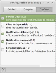 Configuration de Mailnag - Greffons