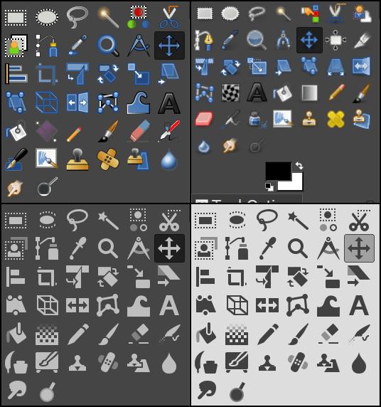 GIMP 2.10 Thèmes icônes