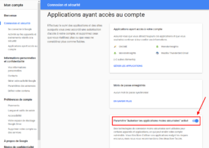 Google - Paramètre autoriser les applications moins sécurisées