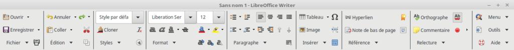 Métabarre de LibreOffice