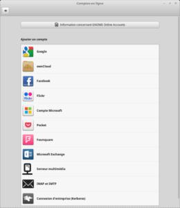 Liste des Comptes en ligne supportés
