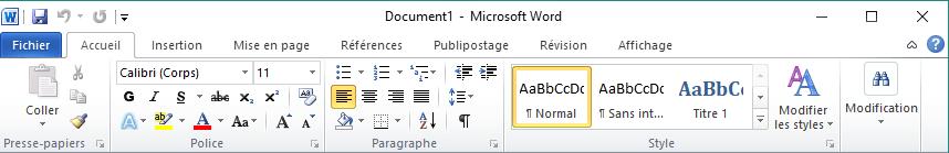 Menu ruban de Microsoft Office