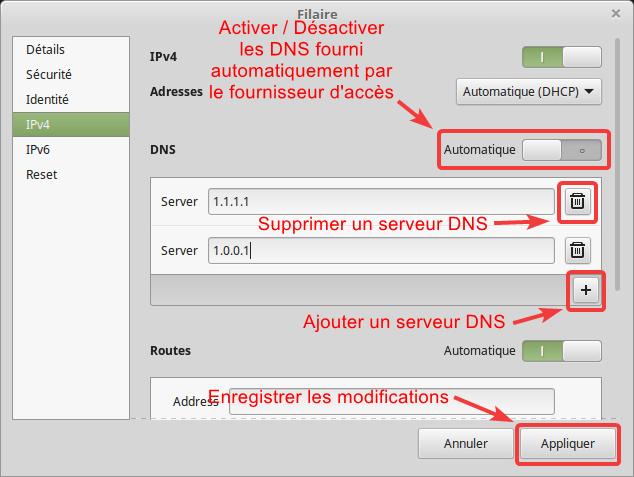 Modification DNS IPv4
