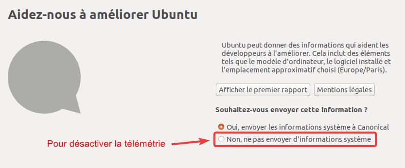 Option télémétrie dans Ubuntu 18.04