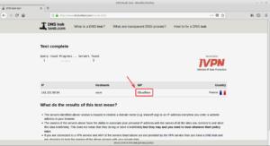 Exemple résultat DNSleak test - DNS Cloodflare