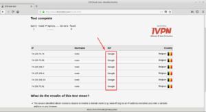 Exemple résultat DNSleak test - DNS Google