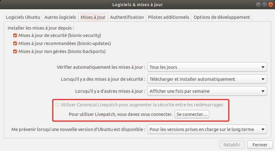 Ubuntu 18.04 - Option Livepatch
