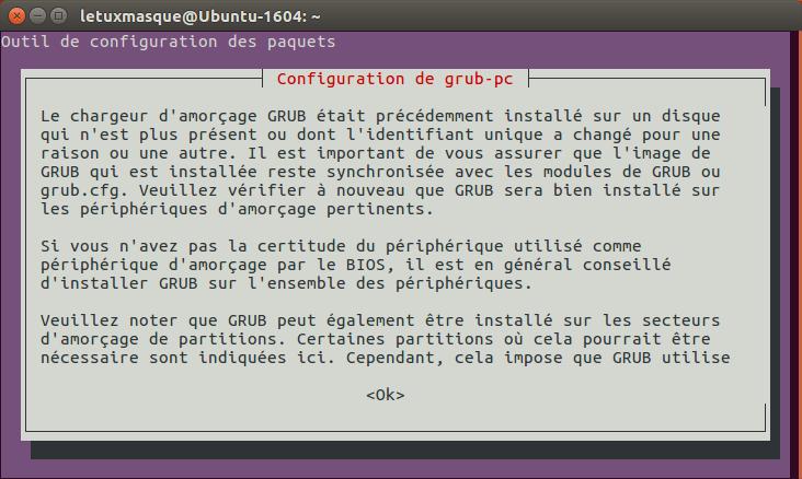 do-release-upgrade - sélection emplacement de GRUB
